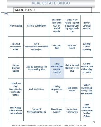 Real Estate Bingo